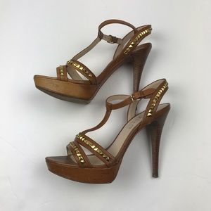 Kors by Michael Kors Brown Leather Studded Pumps